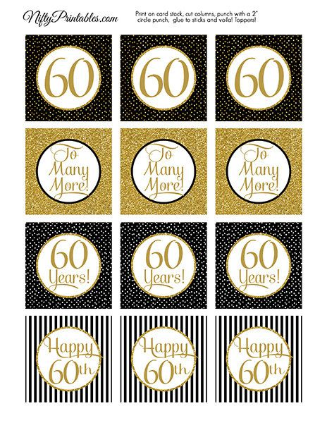 60th Anniversary Cupcake Toppers