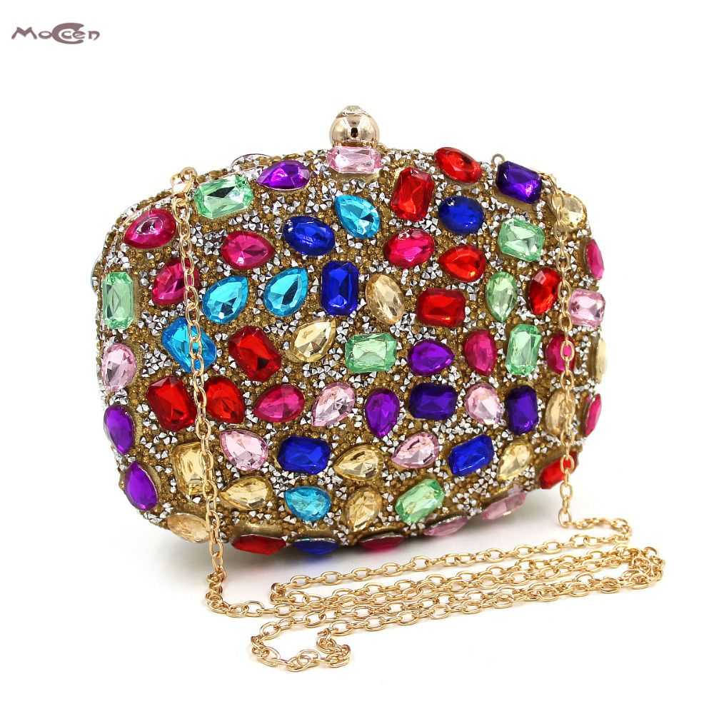 Moccen Luxury Evening Handbag Ladies Beaded Clutch Lady Chain Clutches Bag  Crystal Hand Bag Chain Shoulder 62a8e279c694a