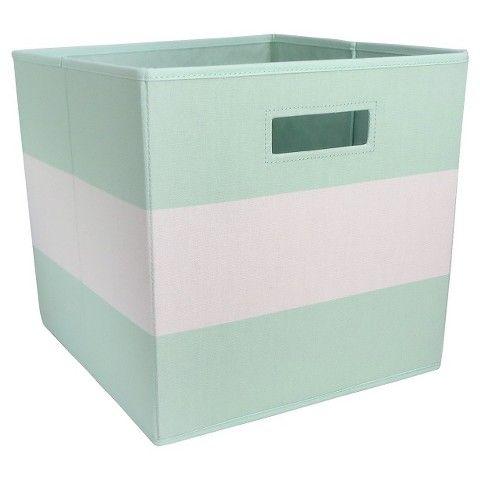 Target Fabric Cube Storage Bin Mint Stripe Pillowfort Storage