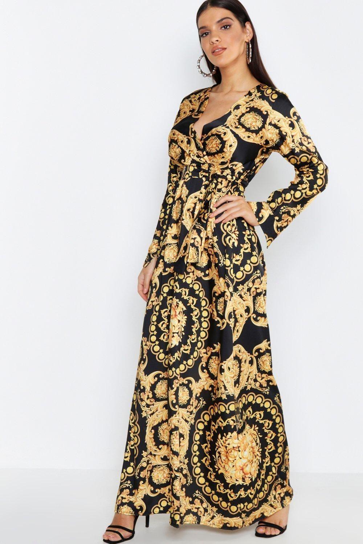 Elegant Summer Casual Women Long Sleeve Chain Print Shirt Dress Ladies Casual Mini Dress squarex  Women Dresses