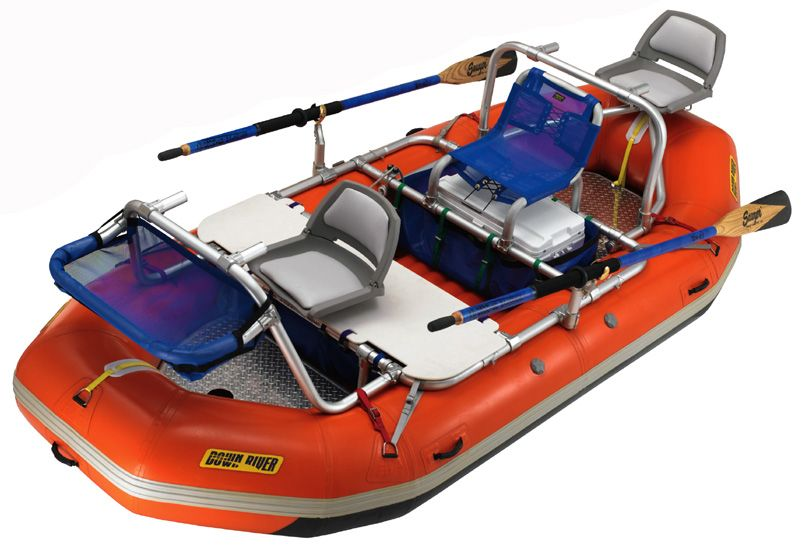 Down River's San Juan XD AS 3-Bay Raft Fishing Frame on a