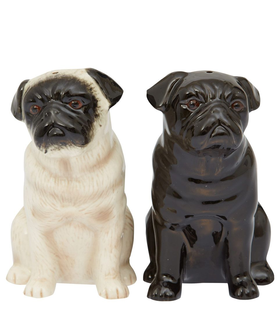 Quail Black And Fawn Pug Stoneware Salt And Pepper Shakers Home