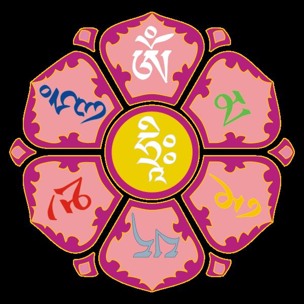 Oṃ Maņi Padme Hǖṃ The Six Syllable Mantra Of Avalokiteshvara Written In Tibetan Script In The Form Of A Lotus Flower Om Mani Padme Hum Mantra Tätowierungen