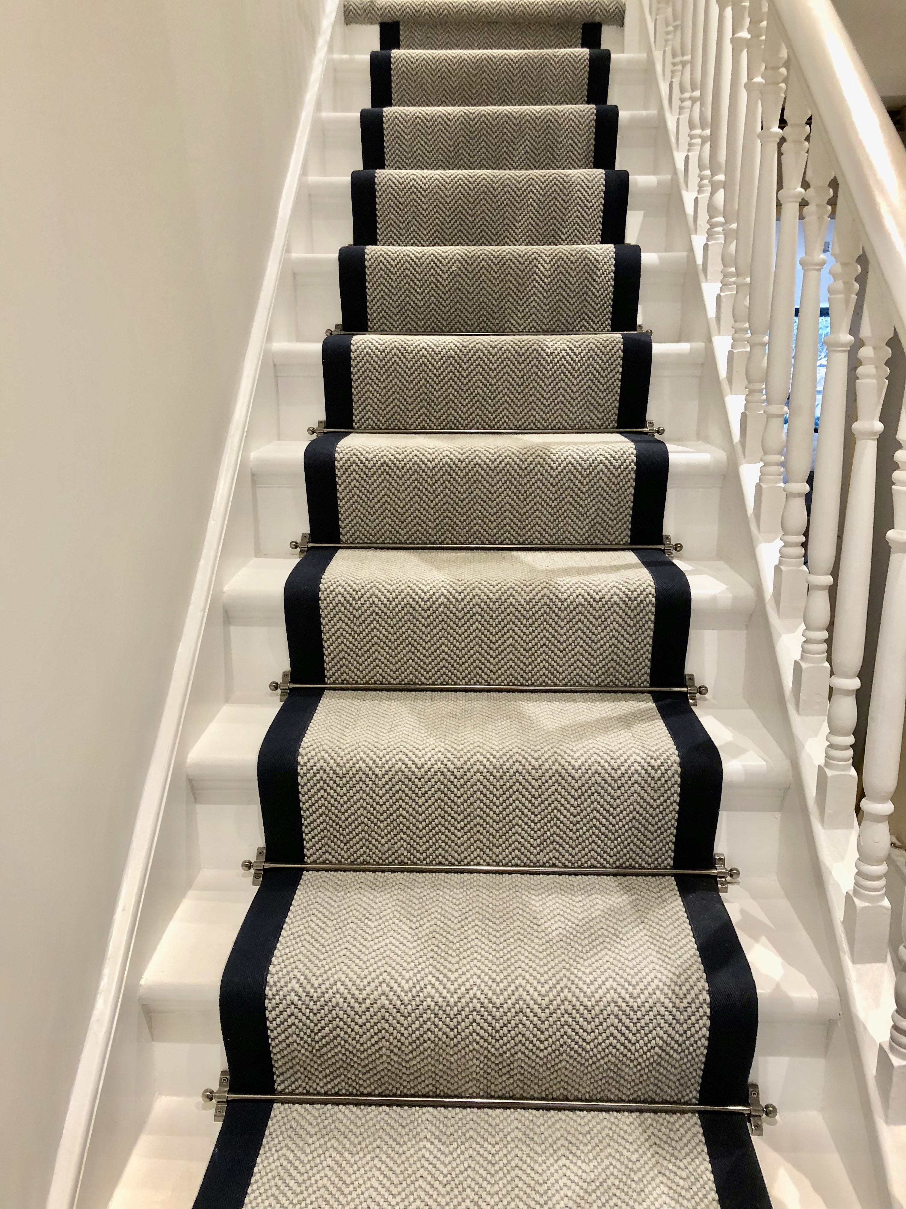 Grey Herringbone Stair Runner With Navy Trim Victoriawoodley   Cheap Carpet Runners For Stairs   Wooden Stairs   Stair Railing   Hallway Carpet   Staircase Remodel   Painted Stairs