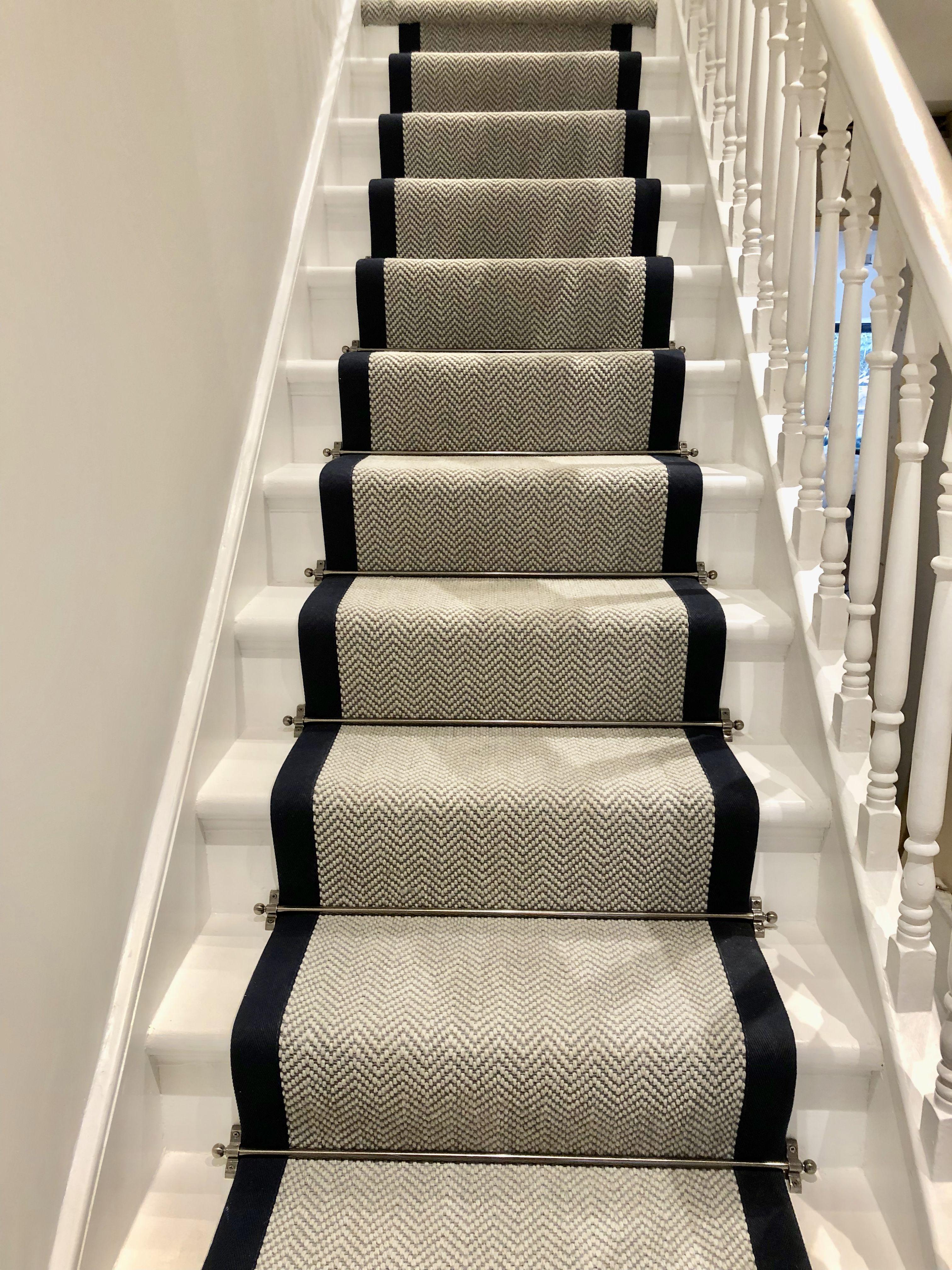 Grey Herringbone Stair Runner With Navy Trim Victoriawoodley   Grey Herringbone Carpet Stairs   Living Room   Flat Weave   Hartley   Patterned   Modern