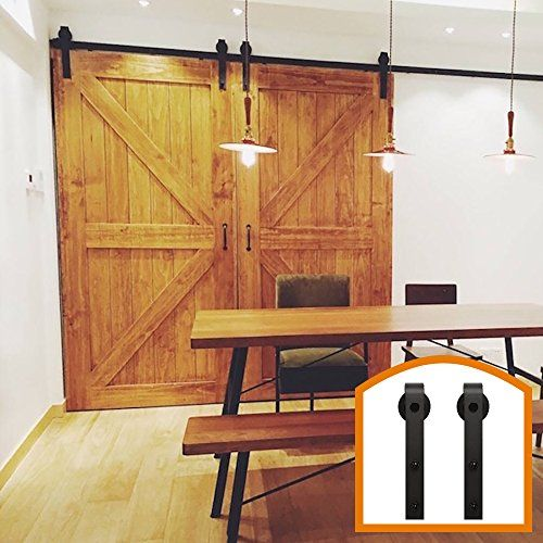 Homedeco Hardware 11 Ft Black Steel Antique Interior Double Sliding Barn Door Hardware Pulls Wood Door Kit Hardware1 Wood Barn Door Sliding Barn Door Hard