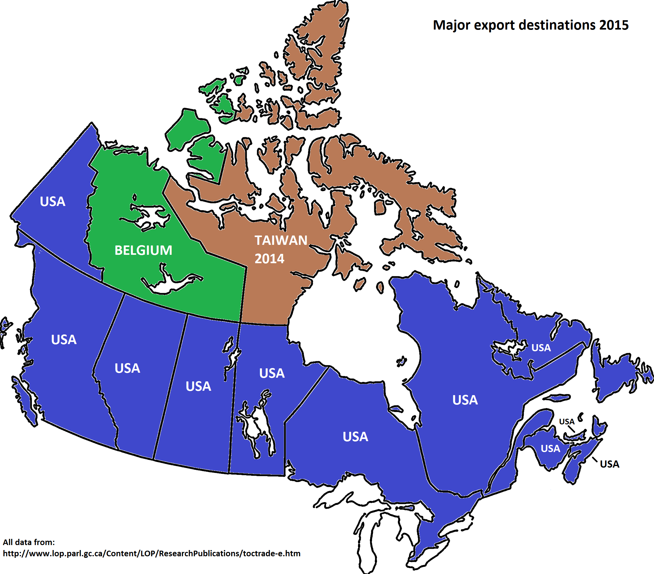 Each Canadian province/territory biggest export
