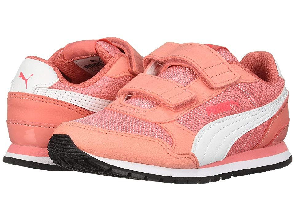 Puma Kids ST Runner V2 Mesh V (Little Kid) Girl s Shoes Shell Pink Puma  White d6f4b68a5