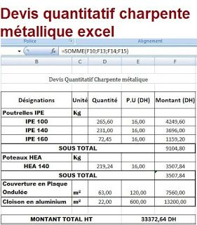 Devis quantitatif charpente métallique excel | Charpente ...