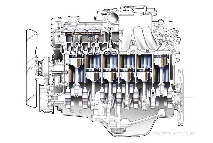 longitudinal car engine cross-section | Isometric drawing ...
