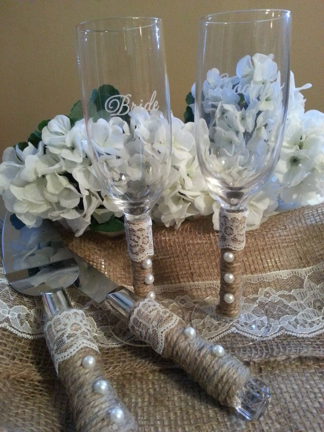 Wedding Glasses & cake cutters if only the yarn was maybe mint or peach I love the pearls