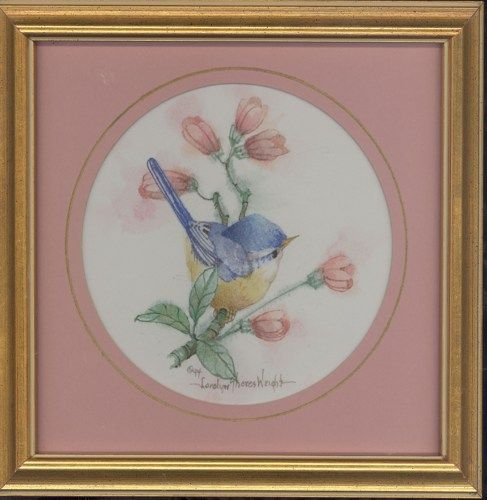 """This 8"""" x 8"""" original watercolor by Carolyn Shores Wright includes a gold frame with enhanced round mat. The image is one of many birds she has painted over the years."""