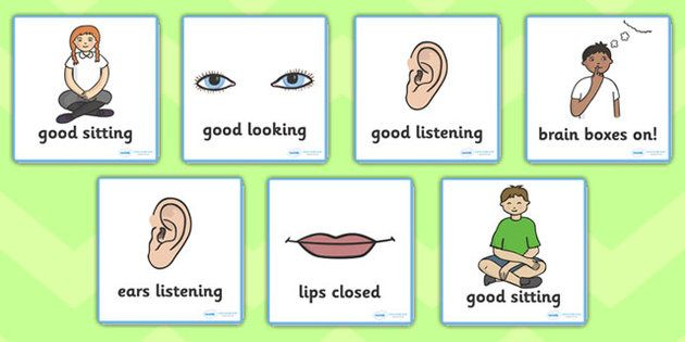 Good Listening Cards - Good listening, listen, behaviour management, SEN, good sitting, good listening, good looking, lips closed, listening, brain box
