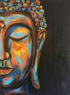 Buddha painting Original Buddha art Boho decor Buddha face #artpainting #buddhadecor