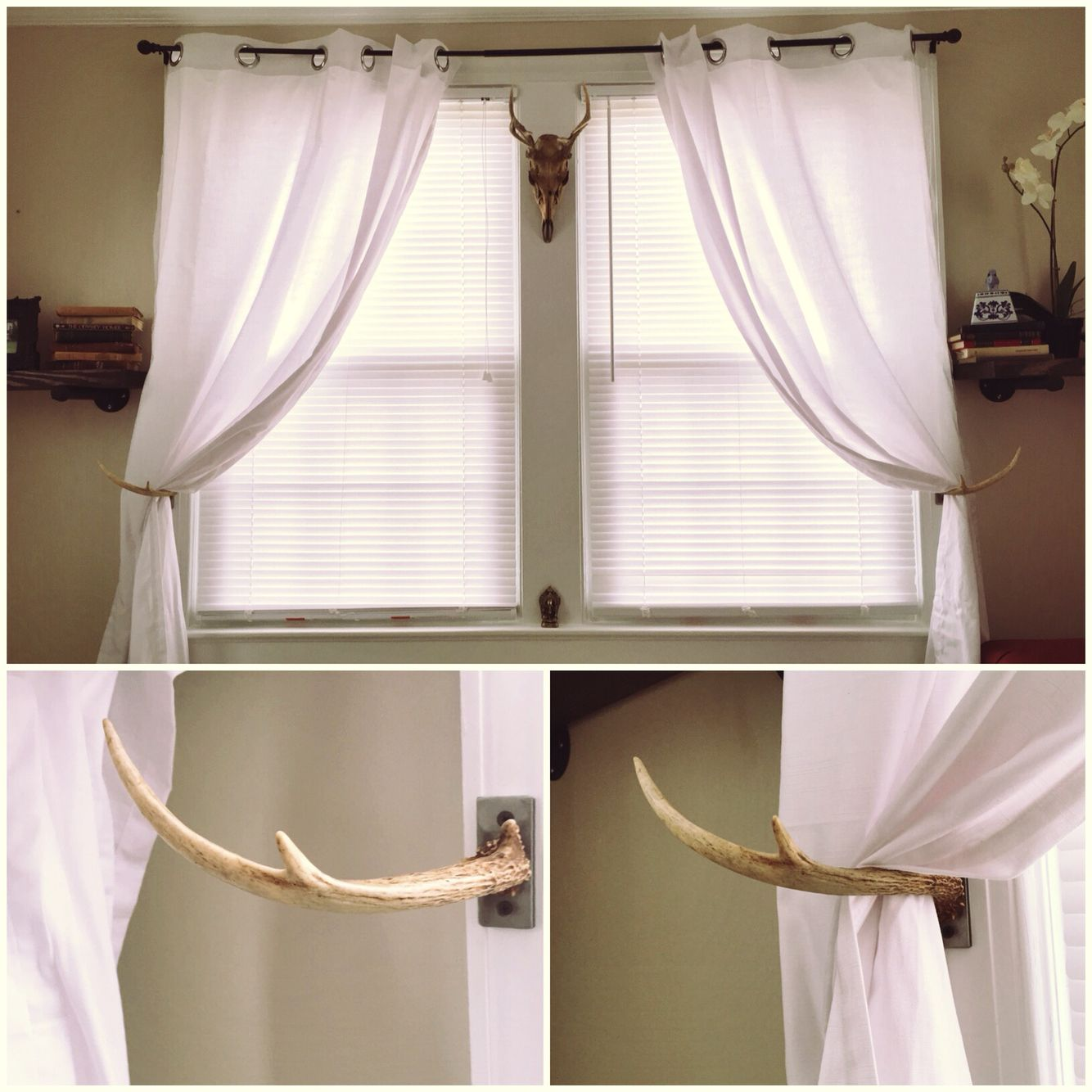 Birch Curtain Rod With Antler Prongs Curtain Rods Wildlife Bedroom Rustic Curtain Rods