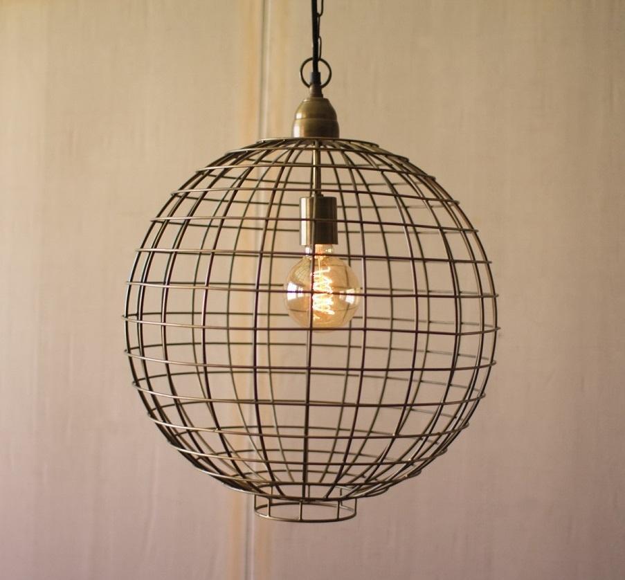 Antique Brass Wire Globe Pendant Light Wire Pendant Light