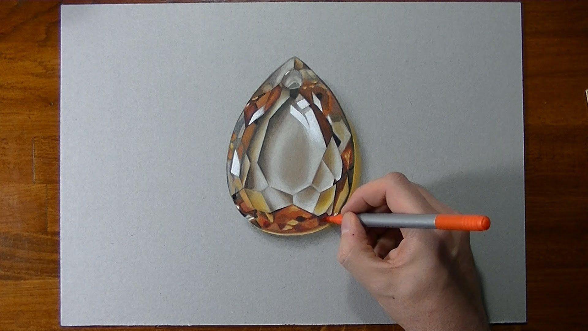 Drawing Time Lapse: golden topaz gemstone