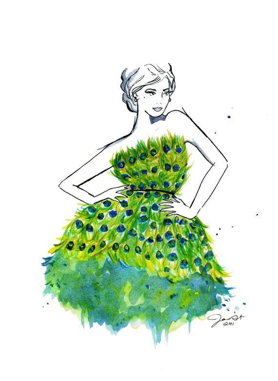 OH MY - Peacock Couture, by JessicaIllustration  Who's says you have to marry in white?