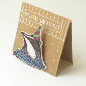 Bristol Creature Brooch - Bishopston Badger by Little Birdy Crafts