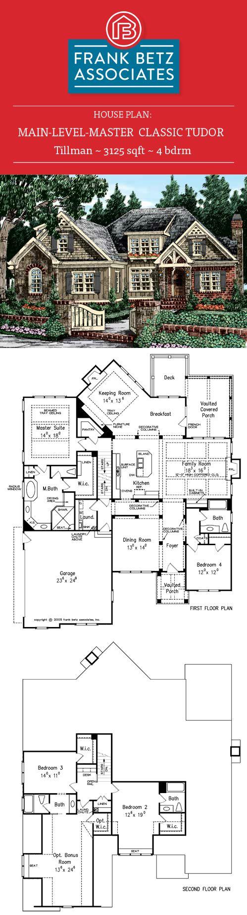Tillman 3125 Sqft 4 Bdrm English Classic Tudor House Plan Design By Frank Betz Associates Inc House Plans Tudor House Exterior How To Plan