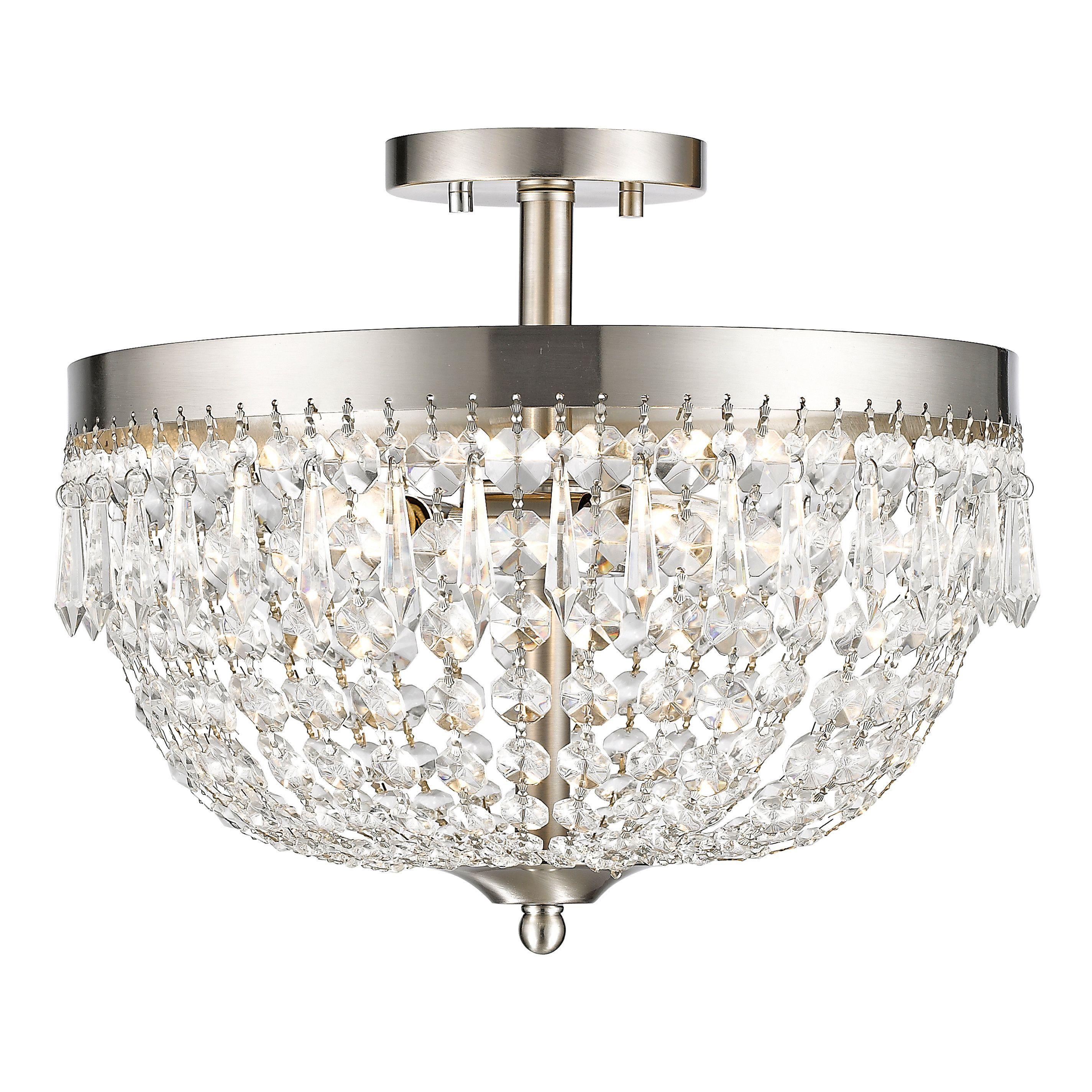 Z-Lite Danza 4-lights Brushed Nickel Semi Flush Mount (Flush Mounts) (Crystal)