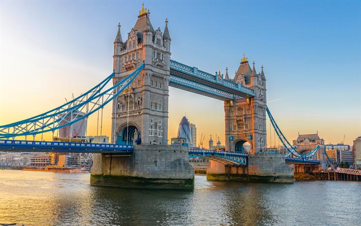 Download Wallpapers Tower Bridge 4k Sunset River Thames London England Uk Besthqwallpapers Com Rio Tamisa Torre De Londres Cidade