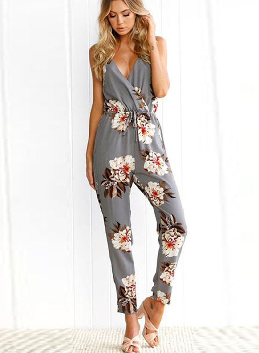 808dce5614d Casual V Neck Sleeveless Backless Floral Printed Jumpsuit