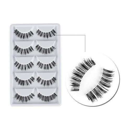 063cb66ef12 5Pairs Handmade Long Thick Cross Black Natural Makeup Beauty False Eyelashes  Eye Lashes Make up Extension Tools