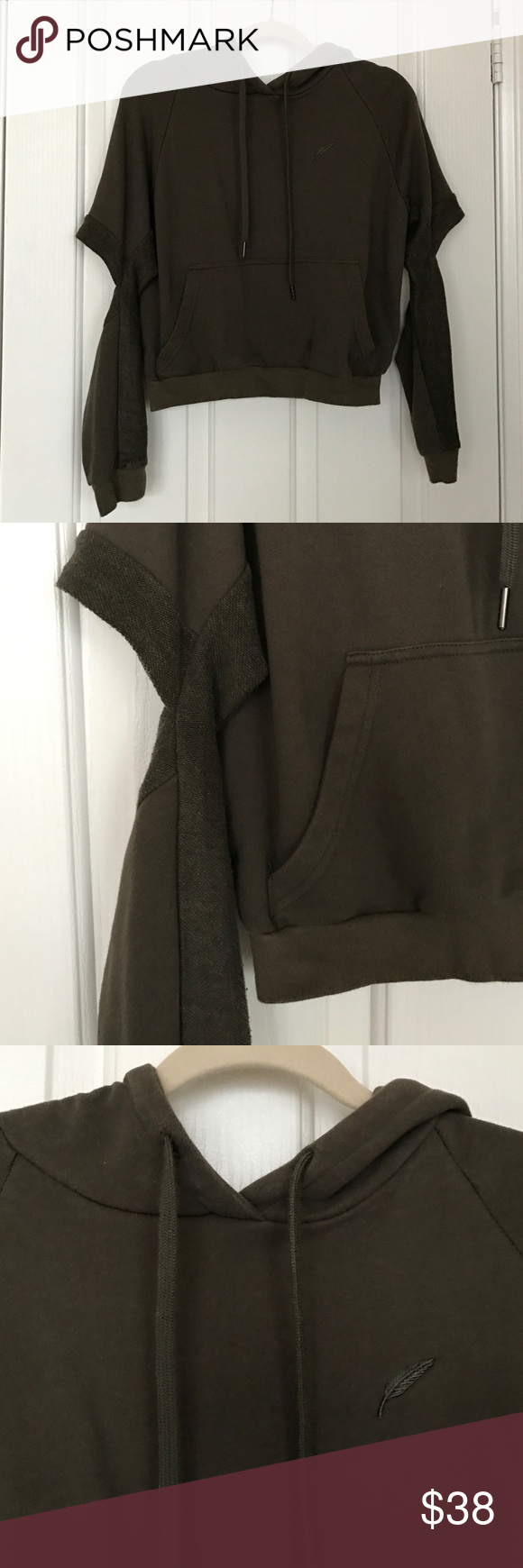 Publish Brand Cropped Hoodie with Cut Out Elbows Super comfy Publish Sweaters