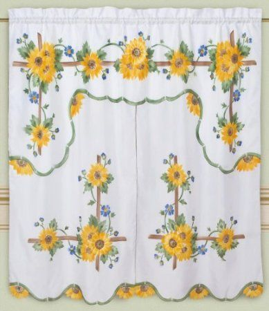 Amazon.com: DreamHome   Mariahu0027s Sunflowers Kitchen Curtain, White: Home U0026  Kitchen