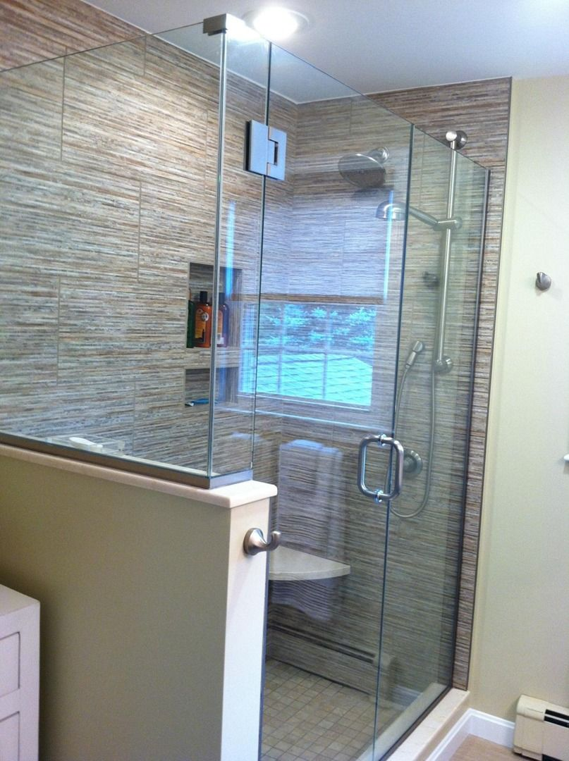 Contemporary bath with bamboo look tile and glass(the window is a ...