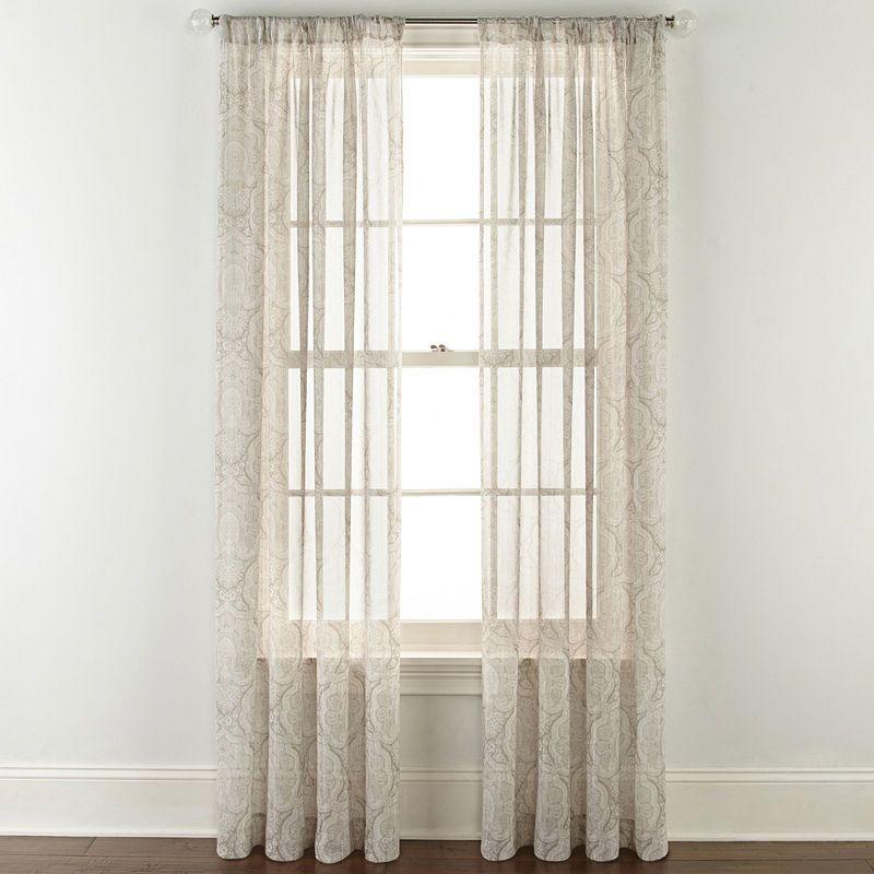 Jcpenney Home Ellington Rod Pocket Sheer Curtain Panel Sheer