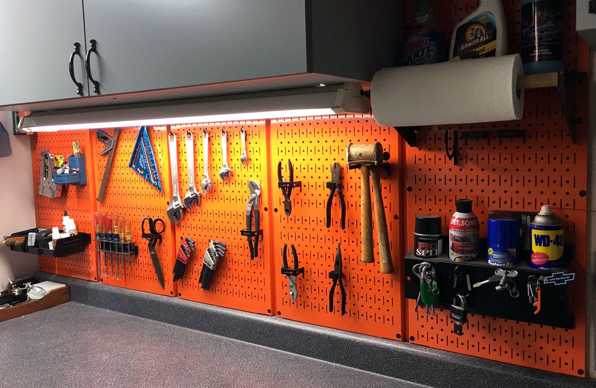 Wall Control Pegboard 16in x 32in Horizontal Orange Metal Pegboard Tool Board Panel