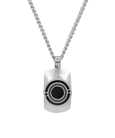 Another great find on #zulily! Silvertone & Black Geometric Pendant Necklace #zulilyfinds