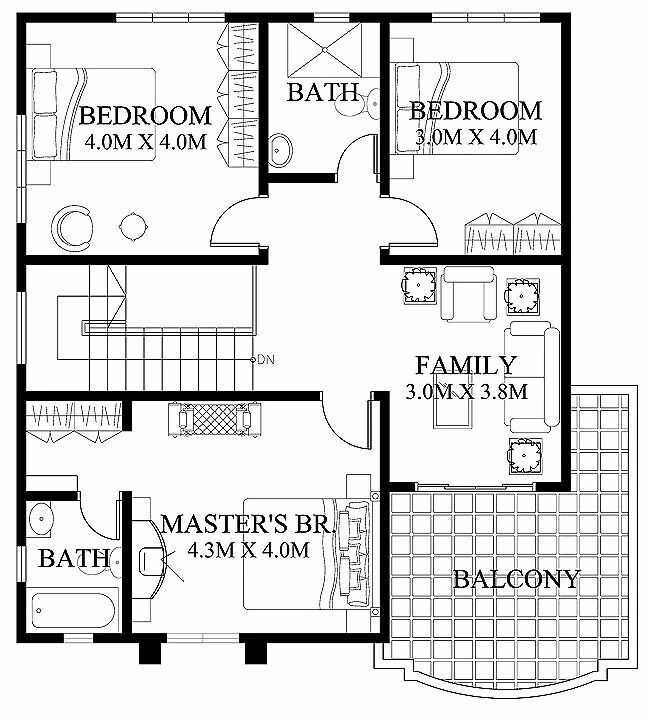 Floor Plan Balcony And Family Room Two Storey House Plans