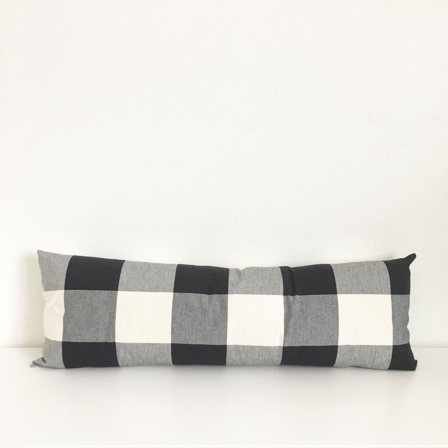 14x36 Lumbar Jet Black And White Buffalo Check Plaid Zipper Pillow Cover By Hivehoneyhome On Etsy Pillows Pillow Covers Black White