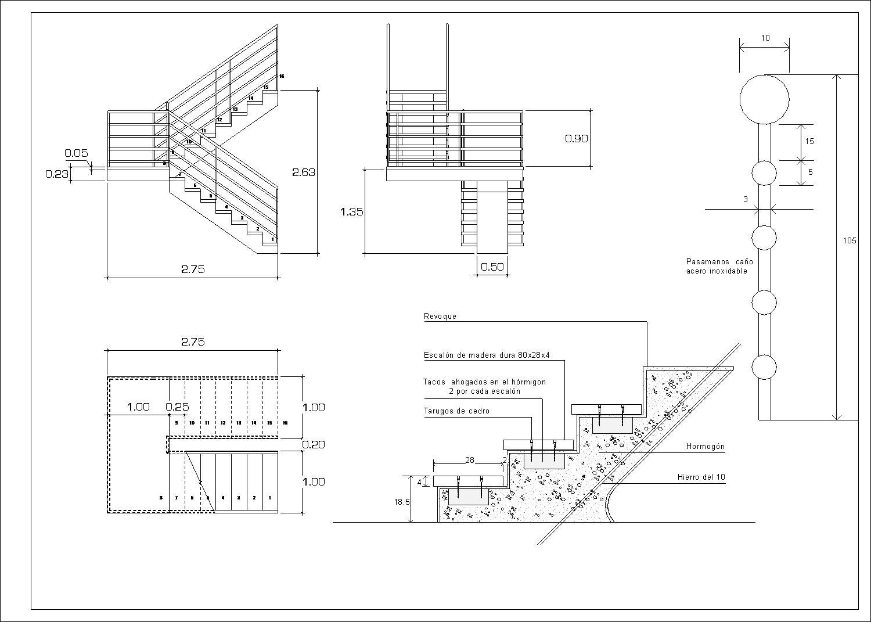 Modelo Replanteo Escalera Detalles Constructivos Planos Escalera