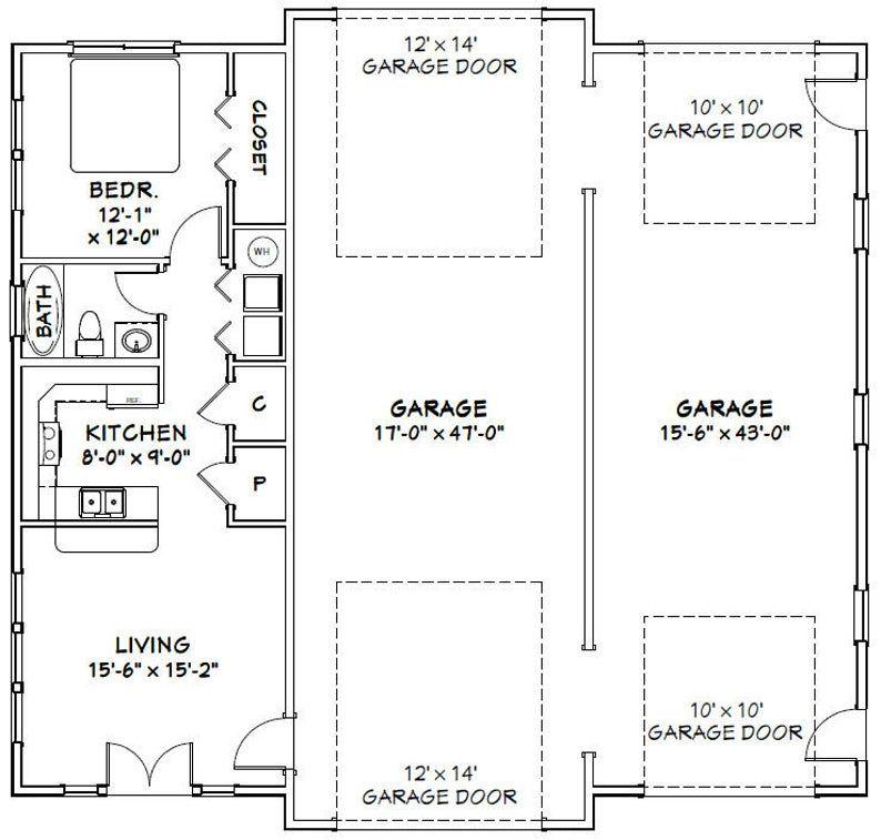 50x48 Garage 1 BR 1 BA PDF Floor Plan 2,274 sq ft