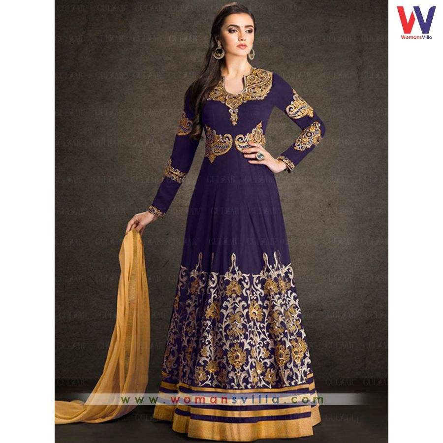 2b74616353 Glory Purple Colored Georgette Designer Indo Western Salwar Suit#Womansvilla