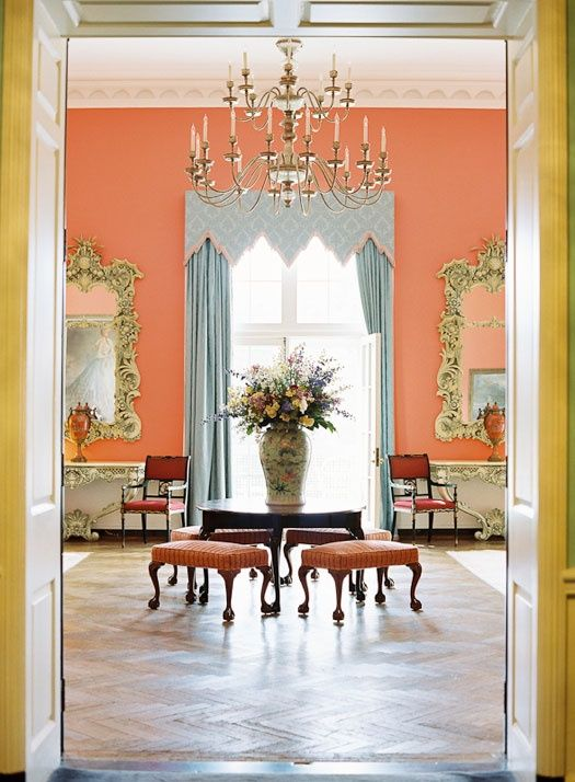 Love This Wall Color With The Blue Curtains Maybe Dining Room Home Beautiful Interiors Interior