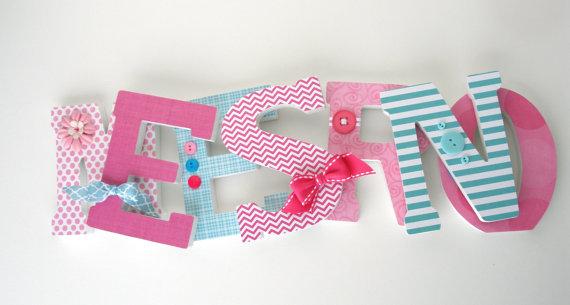 Custom Wood Letters Light Pink And Teal Nursery Decor Baby