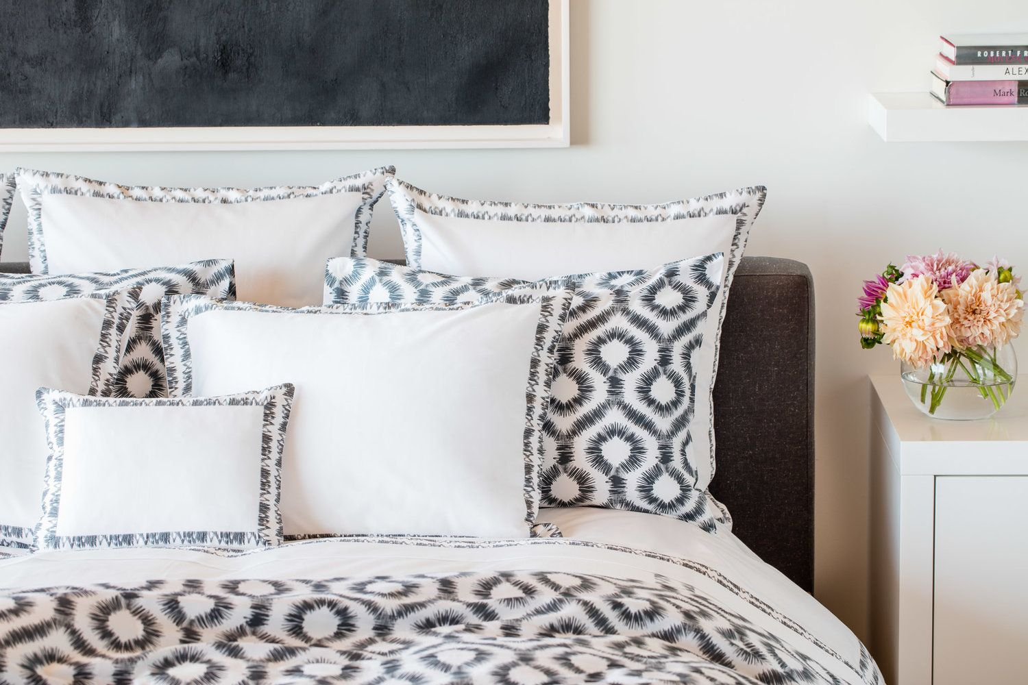Abstract Black And White Ikat Bedding In Onyx Perfect Black And