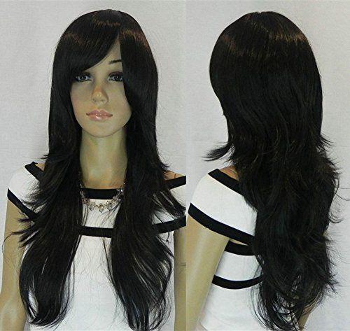 Diy-Wig Long Layered Natural Black Hair With Long Side Ba…