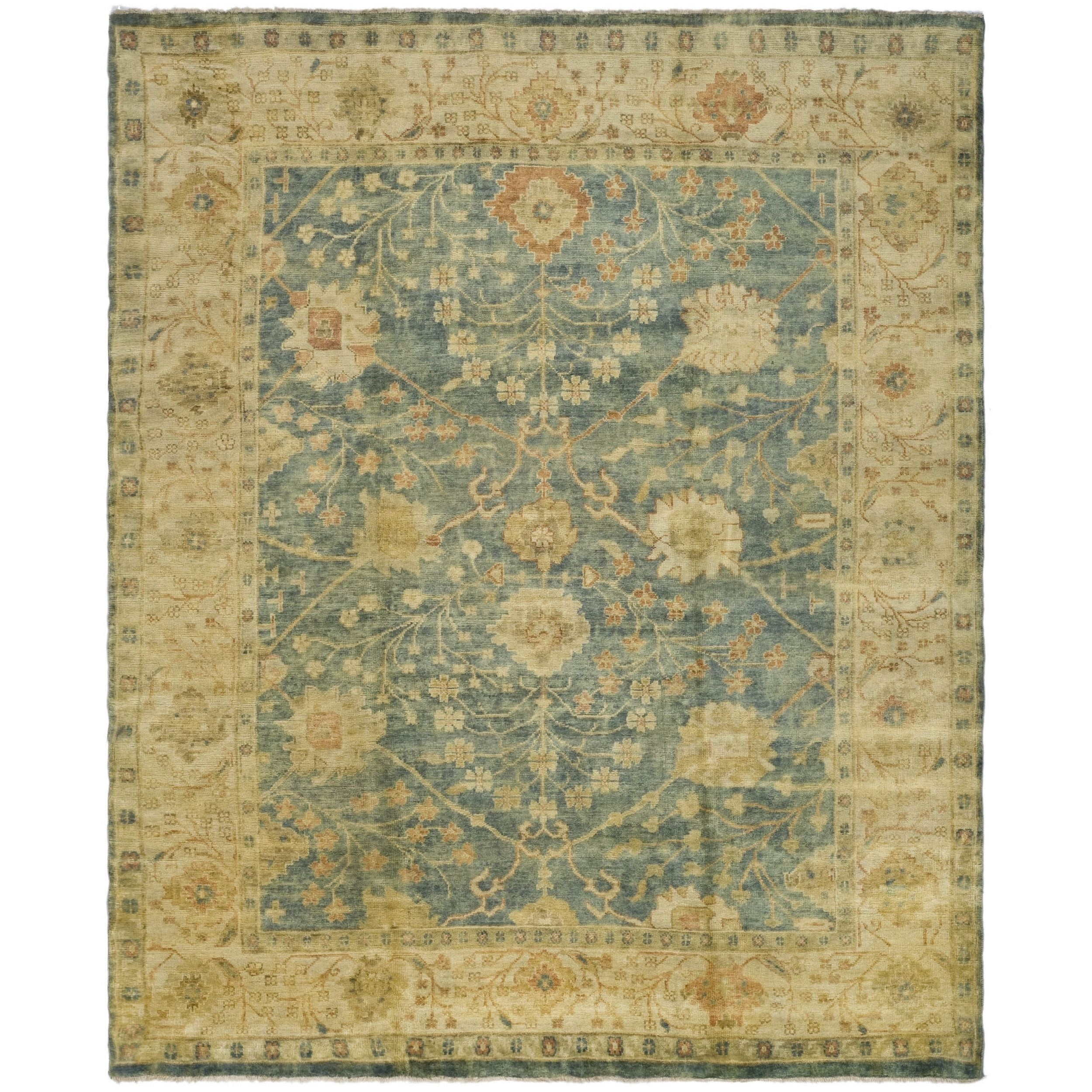 Safavieh Hand Knotted Oushak Medium Blue Green Wool Rug 12 X 15