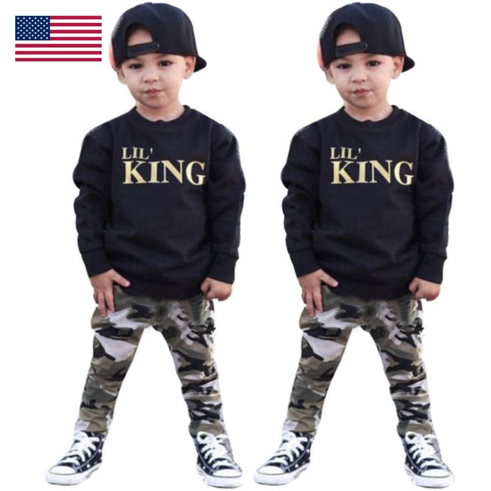 Newborn Toddler Baby Boys Camo Hoodie Top Pants Tracksuit Gym Clothes Set Outfit