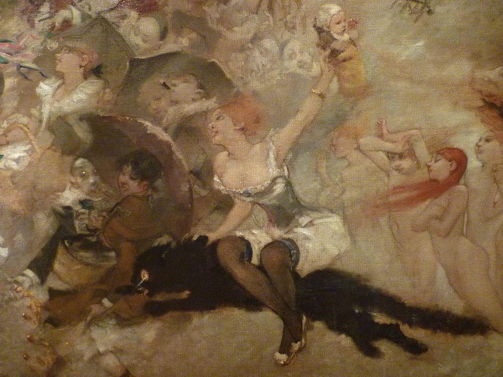 WILLETTE Adolphe,1884 - Parce Domine - Detail 055 - Français : Une jeune femme sur le dos d'un énorme chat noir, tend un bébé au-dessus de la foule.  English: - A young woman on a huge black cat, holds up a baby above the crowd. - Montmartre -