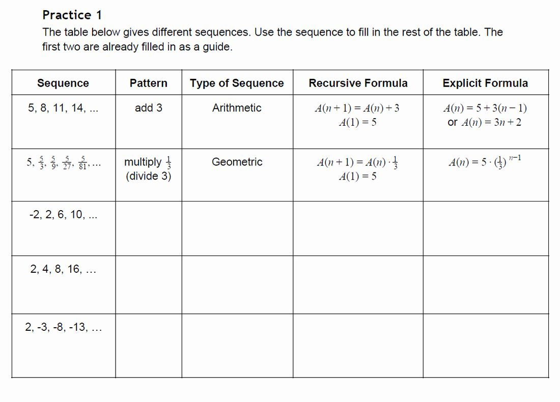 Arithmetic And Geometric Sequences Worksheet Inspirational