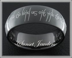 Black Elvish Tungsten Wedding Ring With Free Inside Engraving Outside ReadsOne To Show Our Love One Bind Us Seal