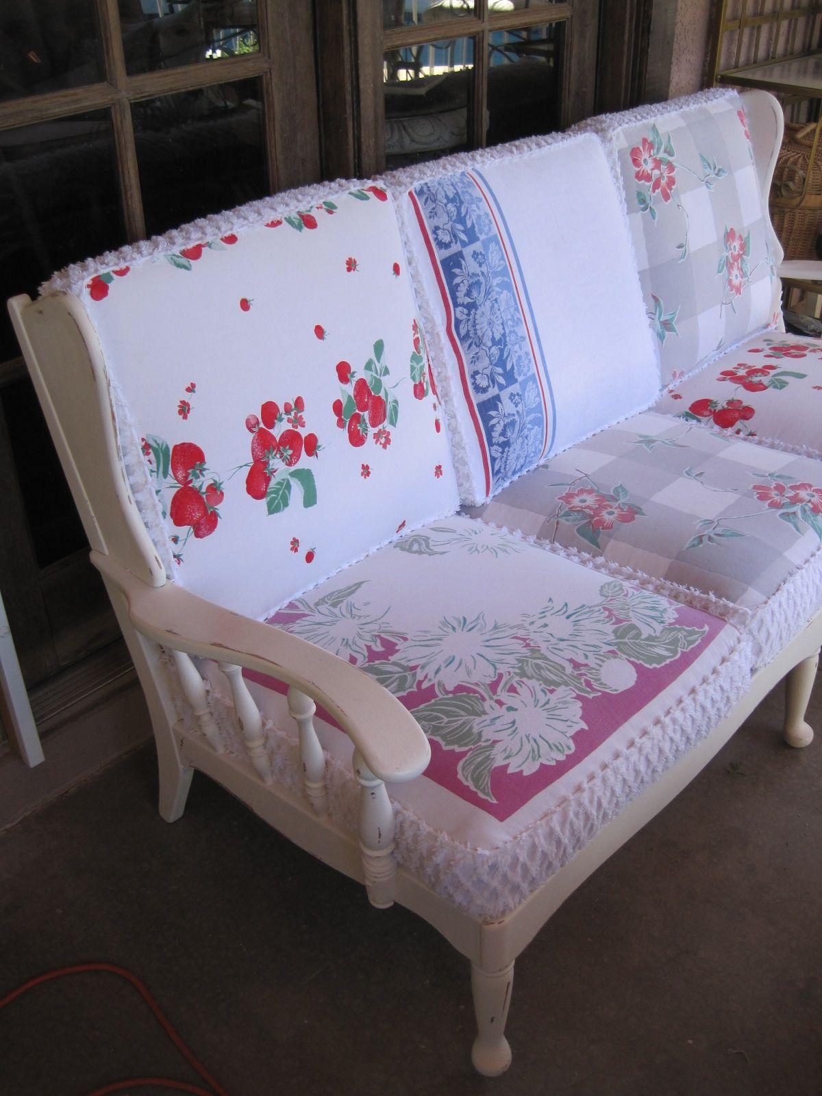 Boulder Dam Cottage vintage re do 1940s wood sofa frame w table