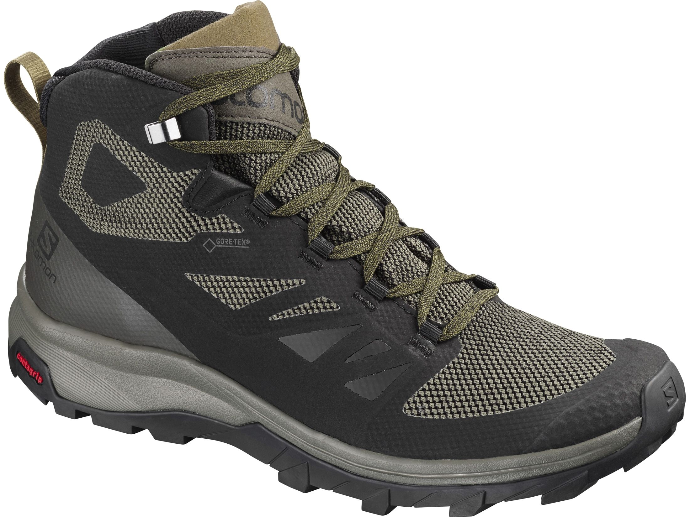 Salomon Outline Mid Gtx 5 Hiking Boots Synthetic Black Beluga Capers Hiking Shoes Mens Mens Hiking Boots Hiking Boots